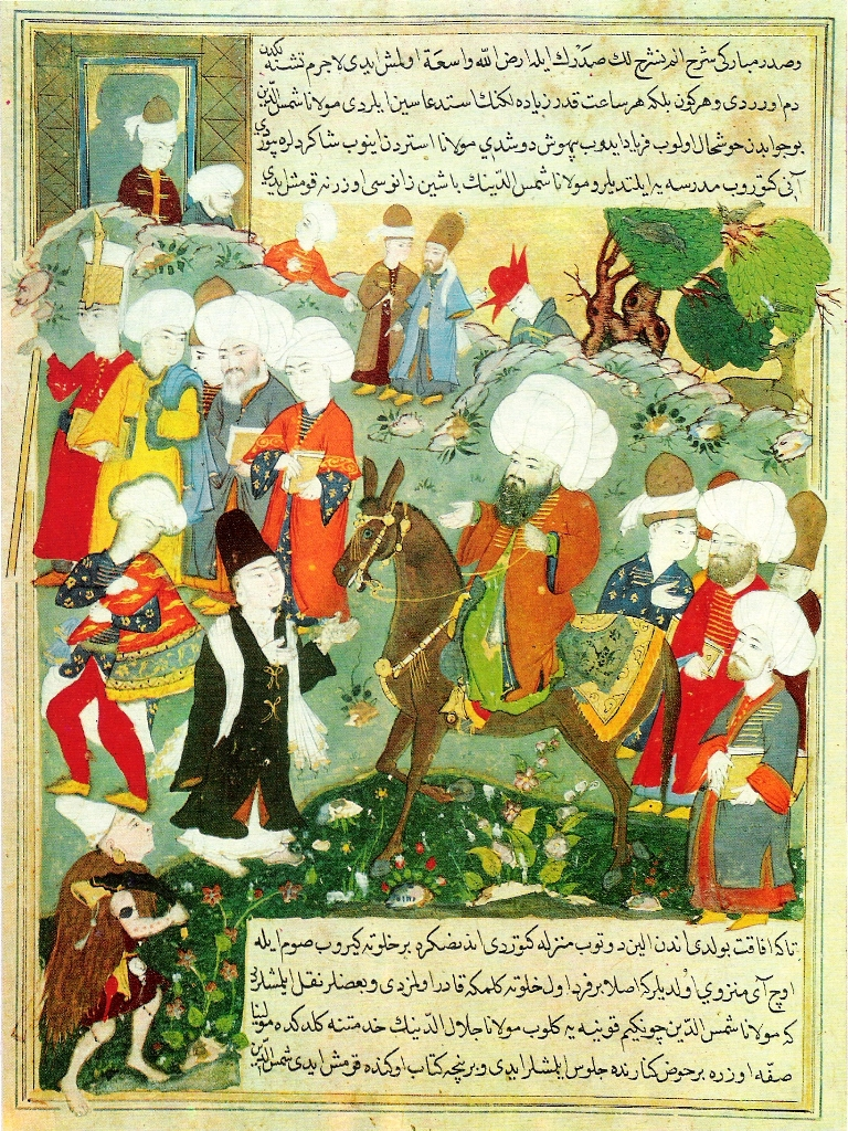 An Ottoman era manuscript depicting Rumi and Shams-e Tabrizi. Photo credit: Topkapi Palace Museum/Wikimedia Commons [Public Domain]