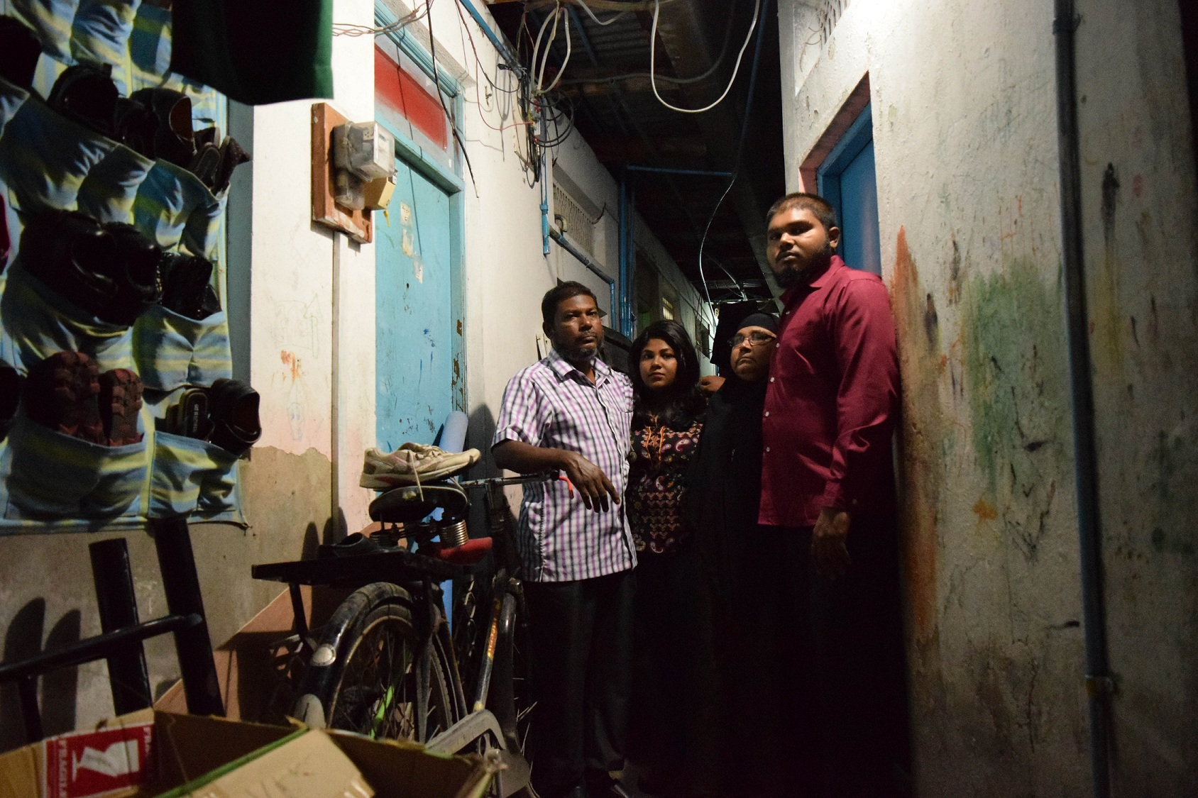 The family of Hussain Humam Ahmed at their residence in Malé. Kinanath is on the right. [Credit: Omkar Khandekar]