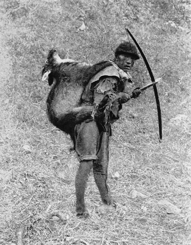 """Hotenfa, one of our Moso Hunters, Bringing in a Goral"", featured in Camps and Trails in China (1918)."