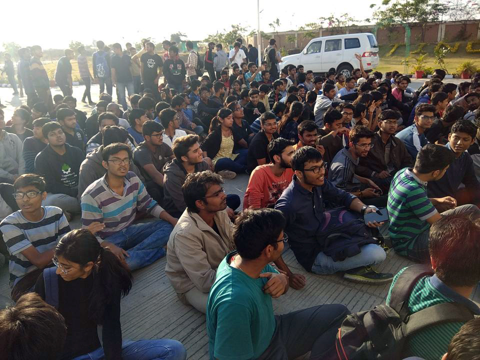 Student protest at IIT Indore. Photo credit: HT