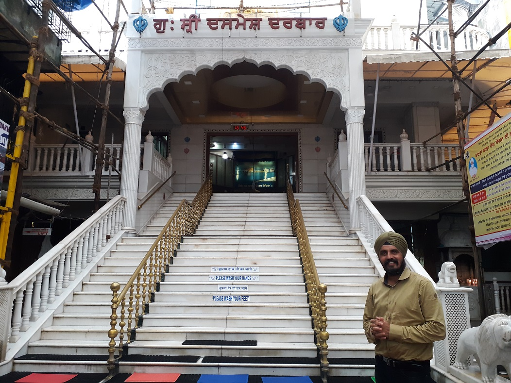 Satpal Singh Banga outside Refugee Colony's most famous gurdwara, Shri Dasmesh Darbar.