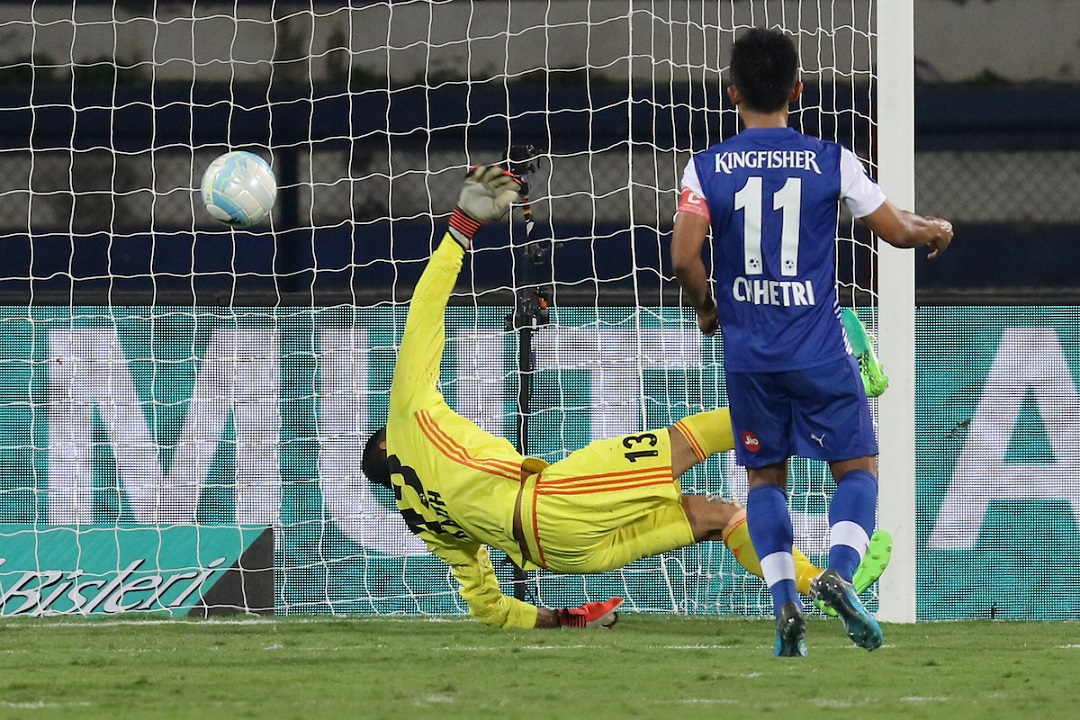 Sunil Chhetri scores his second goal with a panenka kick | Image courtesy: ISL