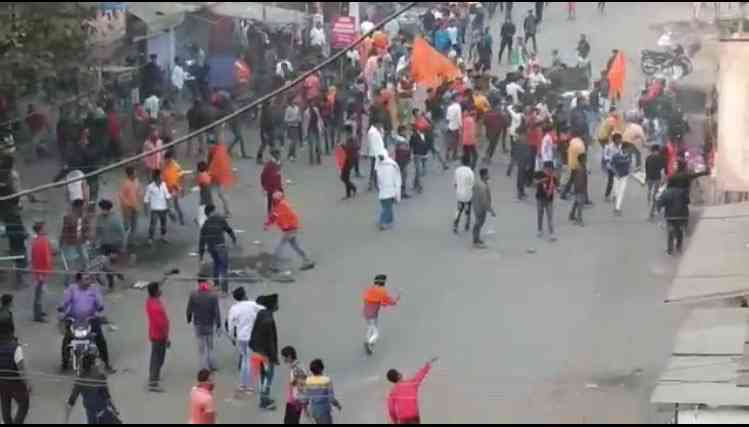 Screenshot of a video of the clash at Hazaribagh, Jharkhand.