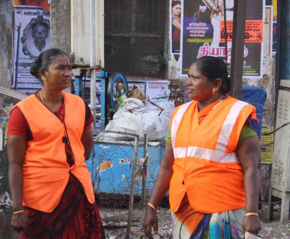 Women sanitation workers in Madurai, Tamil Nadu. (Photo credit: S Senthalir).