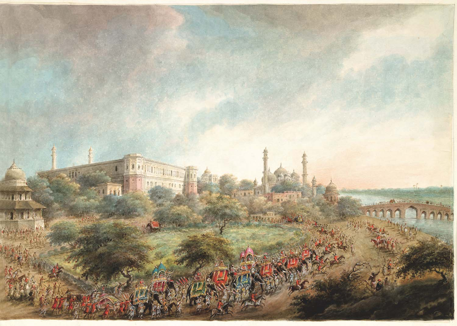 Lord Hastings and the Nawab Vizier entering Lucknow on elephant-back.