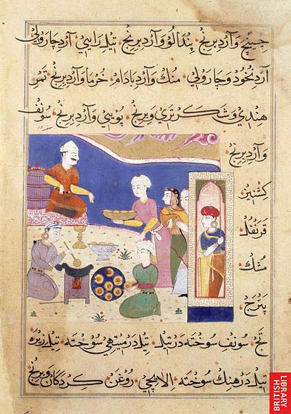 Ghiyath Shahi seated on a stool in a garden is being offered a dish, possibly of samosas. A cook is frying them over a stove, while another is placing them on a round dish. Opaque watercolour. Sultanate style. Title of Work: The Ni'matnama-i Nasir al-Din Shah. A manuscript on Indian cookery and the preparation of sweetmeats, spices etc., 1495-1505. Source: British Library/ Wikimedia Commons CC BY