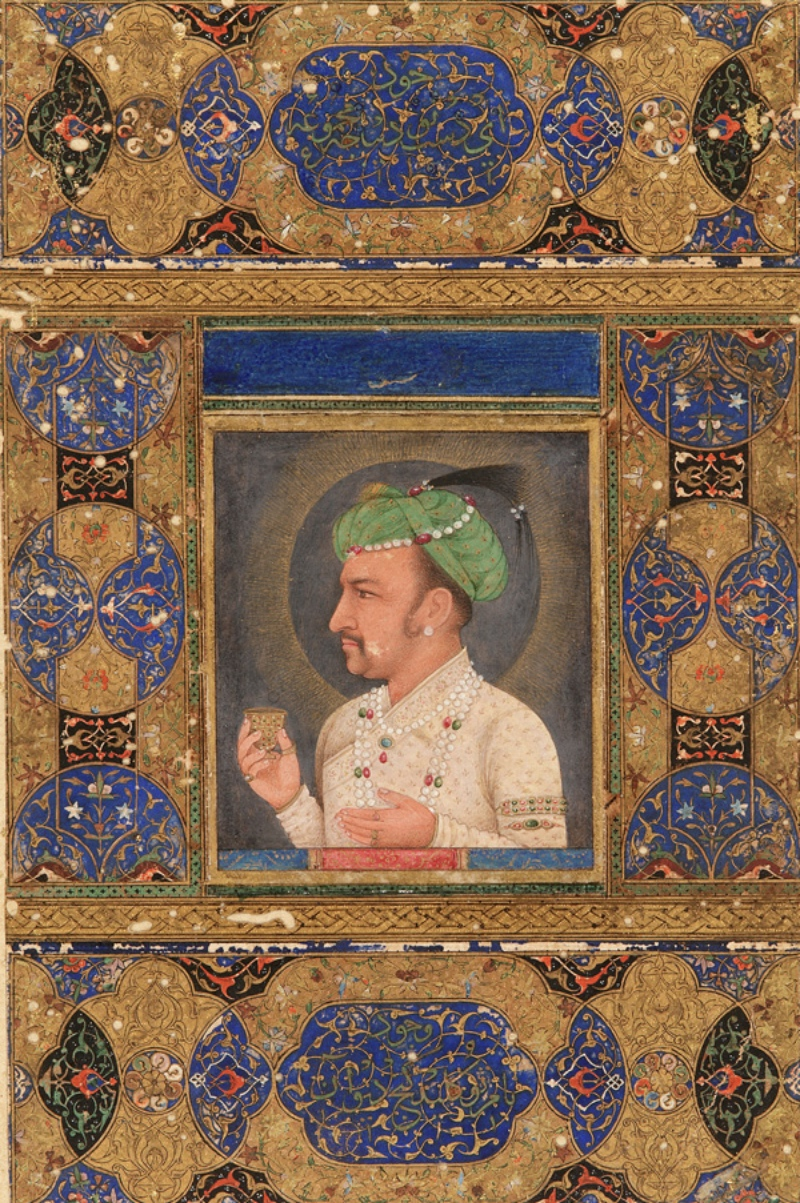 Mughal Emperor Jehangir with a cup of wine.