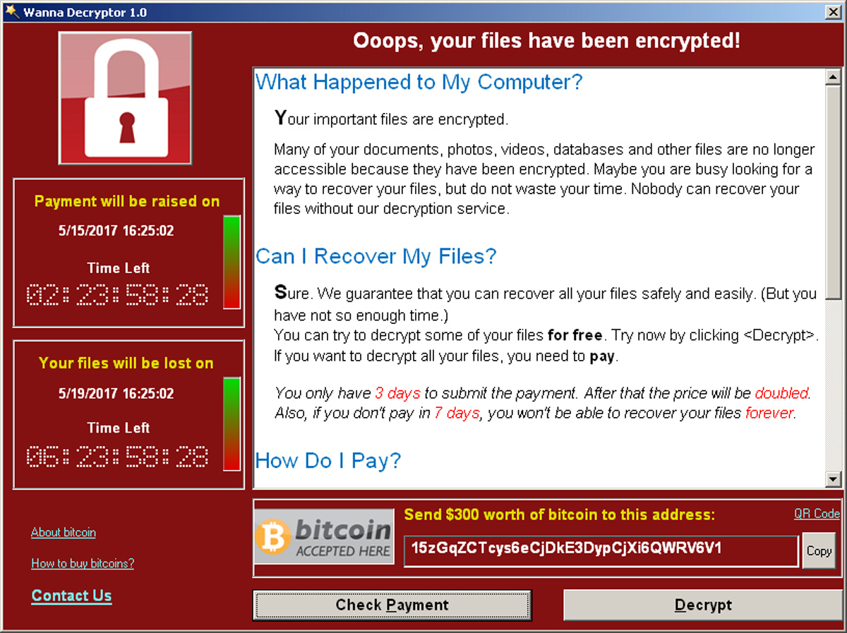 Ransomware blocks access to the infected computer by encrypting data and demands payment to unlock it. Image credit: Reuters