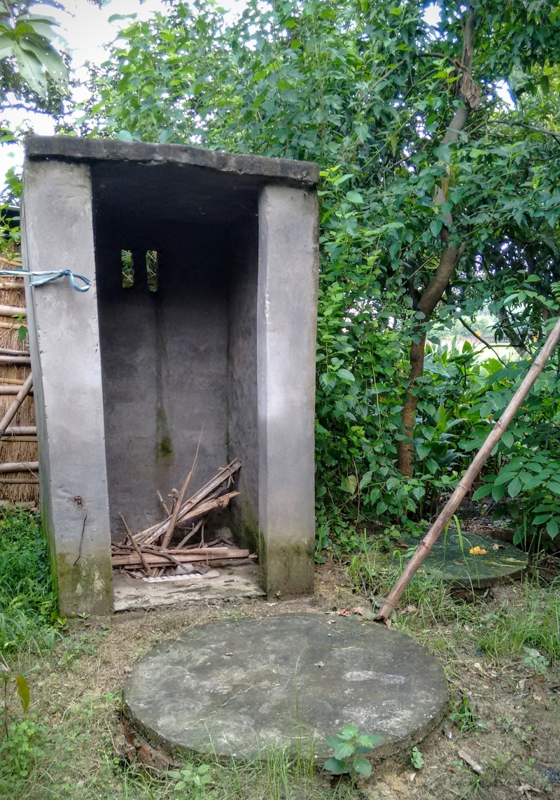 An unused latrine in rural India.