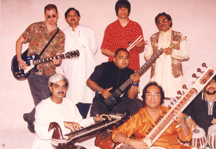 Ananda Shankar, Sam Zaman and other musicians during the recording of Walking On (1999). Courtesy Tanusree Shankar.