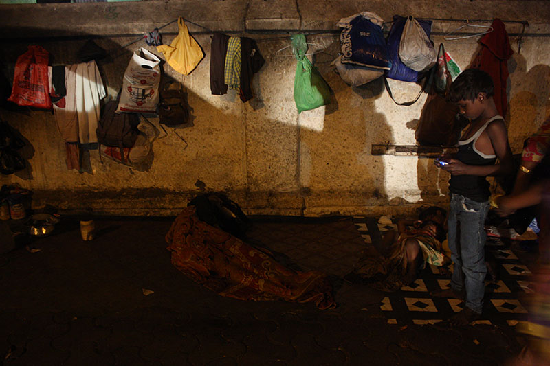 With the increased frequency of evictions, homeless families near JJ Hospital in Byculla keep their belongings tied up in plastic bags and cases. This, they say, is to help them cope better with unexpected eviction drives that are a constant threat for the homeless throughout Mumbai.
