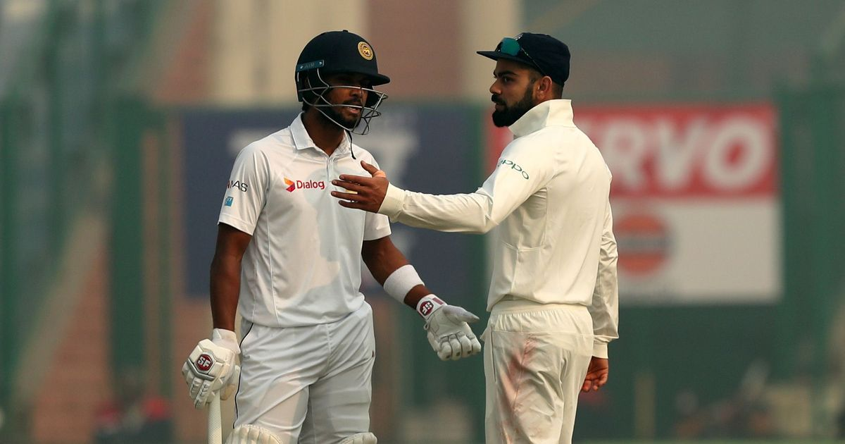 Sri Lanka skipper Dinesh Chandimal (left) was the first Sri Lankan to report discomfort. Photo: Prashant Bhoot / BCCI / Sportzpics
