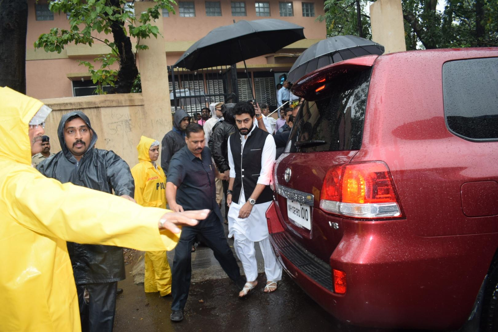 Actor Abhishek Bachchan at the funeral in Mumbai. (Image credit: IANS)