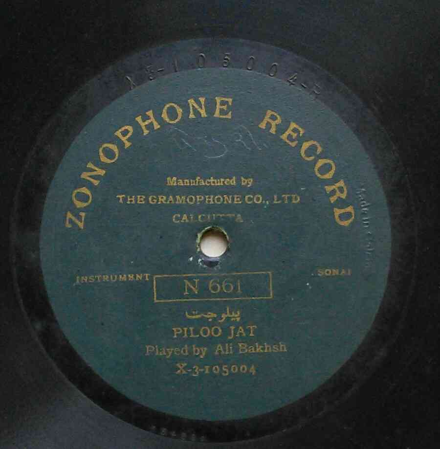 The Zonophone record featuring the music of Ali Bakhsh. Photo credit: Suresh Chandvankar.