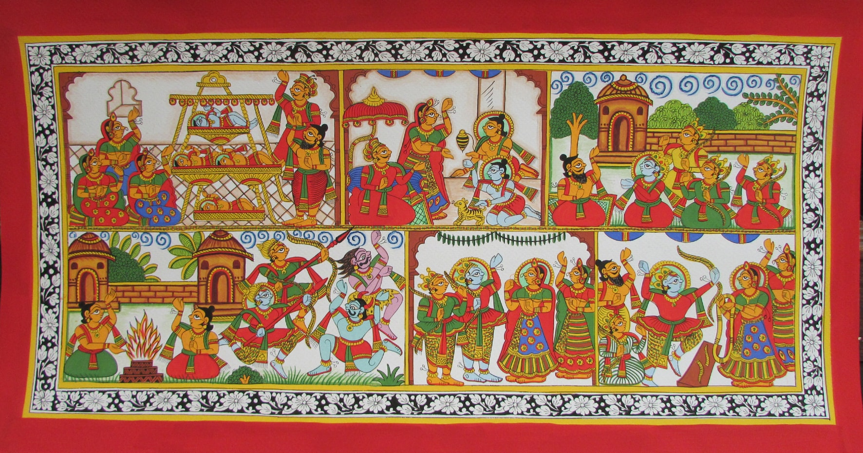 A phad painting depicting scenes from the Ramayana.