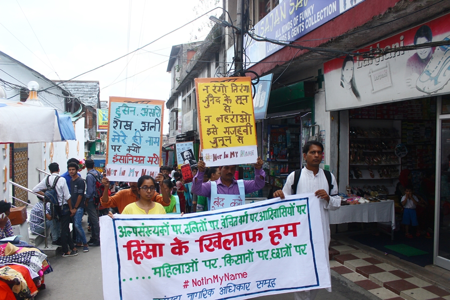 Protestors march through Palampur in Himachal Pradesh [Credit: Kangra Citizens Rights Group]