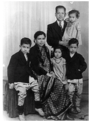 A young Louiz Banks (extreme right) with his family.