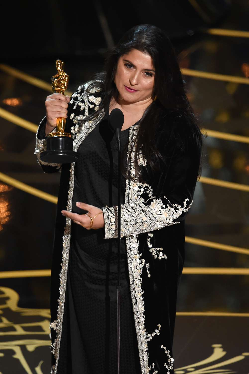 Pakistani filmmaker Sharmeen Obaid-Chinoy with her Oscar for the short documentary 'A Girl in the River'.