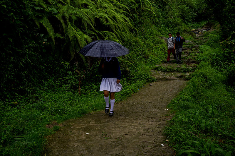 Some children return from their convent school in Darjeeling.