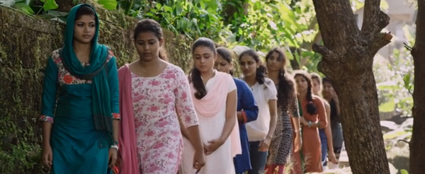Preethi (Shalini Pandey), third from left, in Arjun Reddy (2017). Courtesy Bhadrakali Pictures.