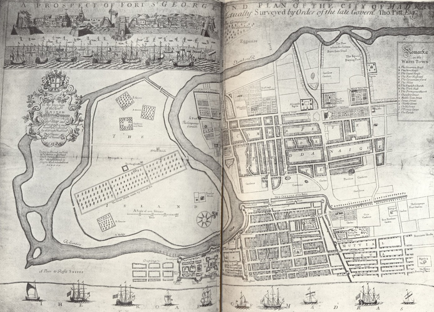 Prospect of Fort St George and Plan of the City of Madras. Picture courtesy Bodleian Library