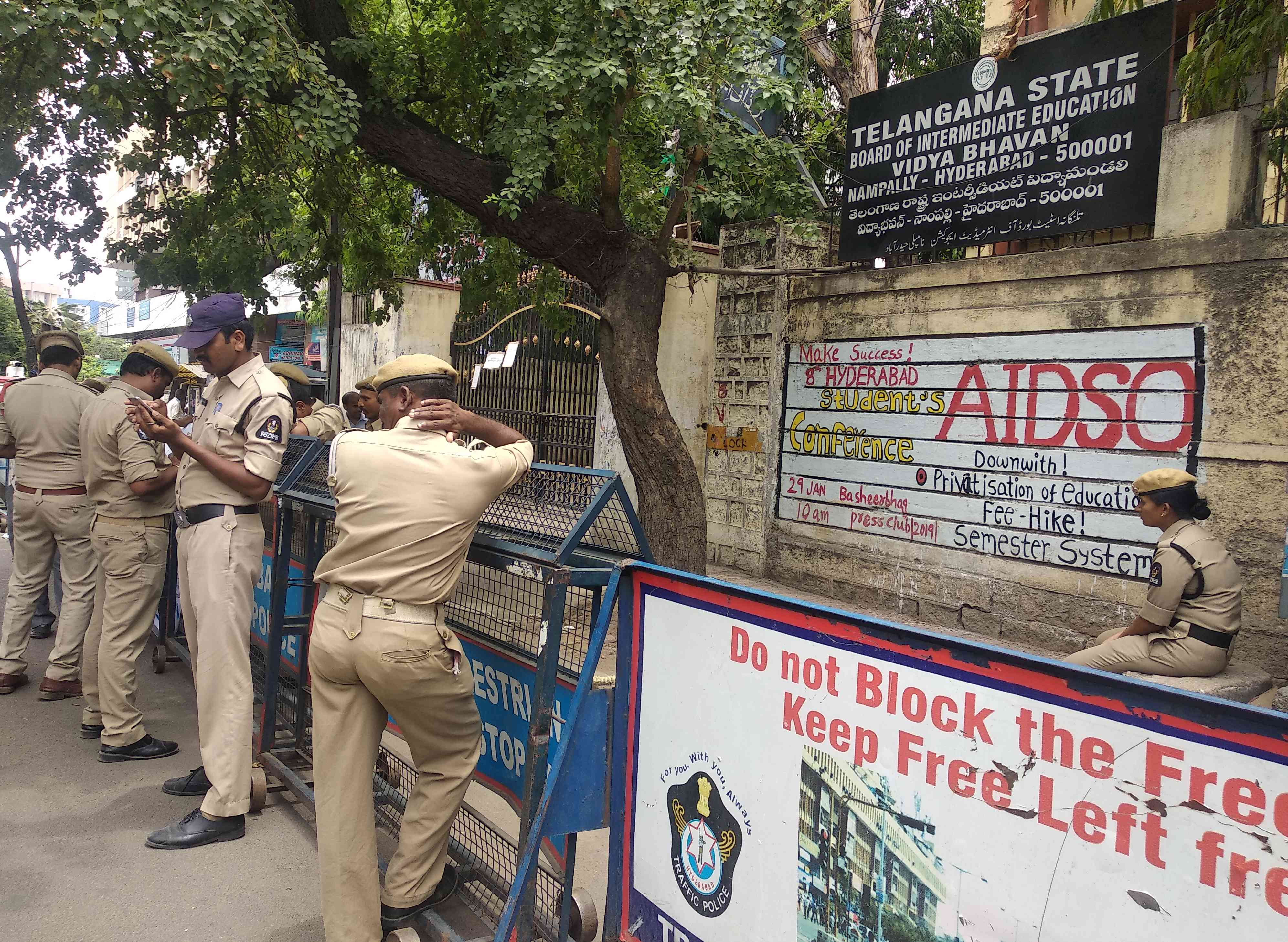 Police guard the Telangana State Board of Intermediate Examination in Hyderabad. Photo credit: S Senthalir
