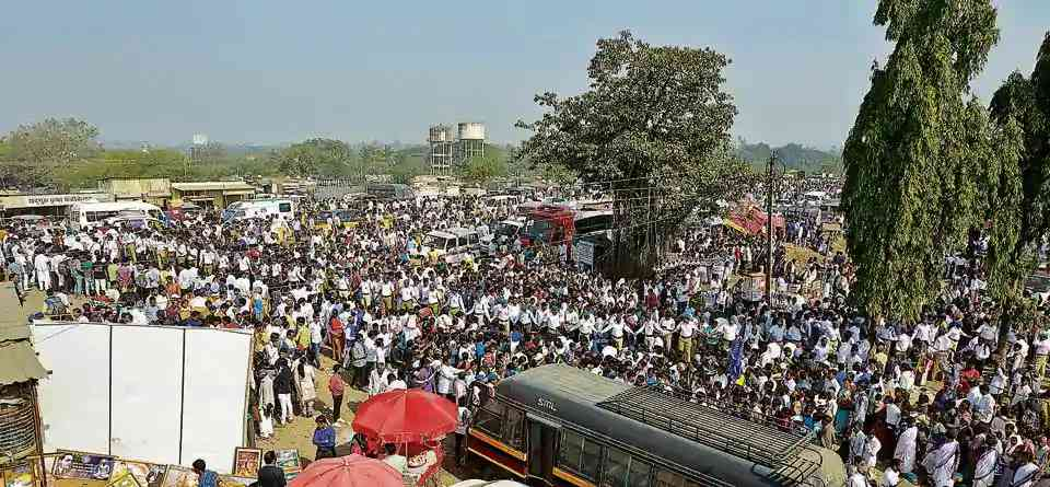 Crowds in Bhima Koregaon on January 1. Credit: HT Photo