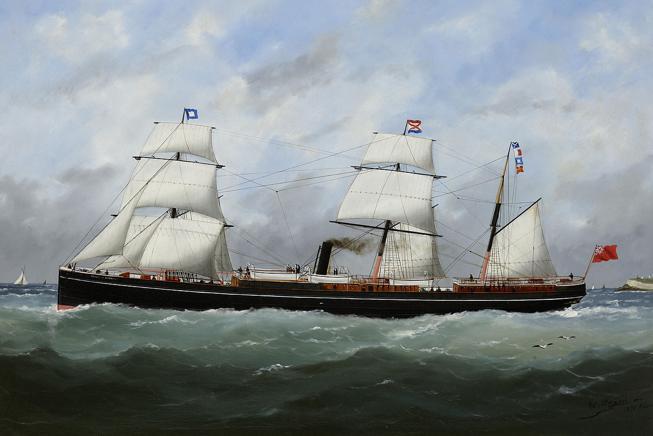 The auxiliary steamer County of Sutherland at sea under steam and sail. Photo credit: Wikimedia Commons [Licensed under CC-PD-Mark]