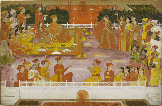A young nobleman enjoying Holi with his consort. Attributed to the artist Nidhamal, Lucknow, 1760-5. British Library, Add.Or.5700