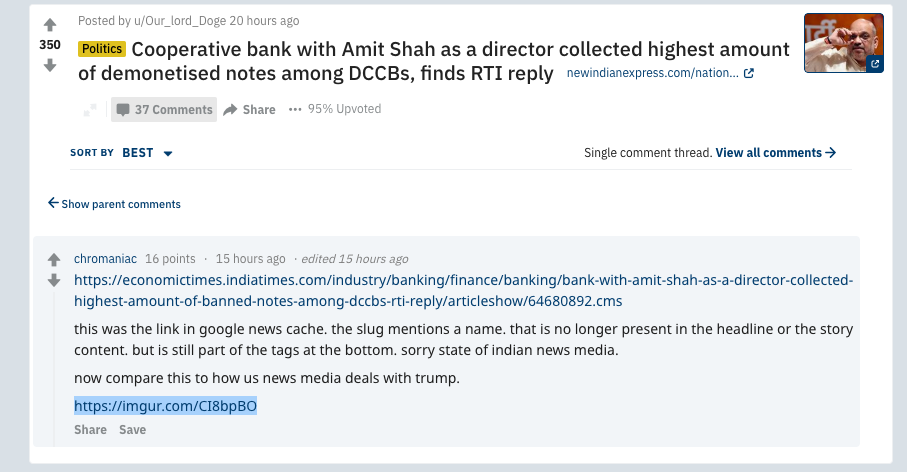 The Reddit screenshot of the original Economic Times report