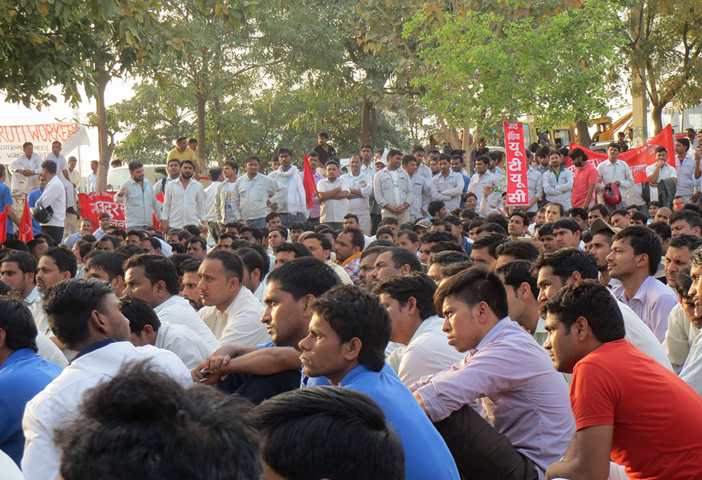Workers from over 20 vendor companies that supply automobile parts to Maruti and Honda joined the demonstration.