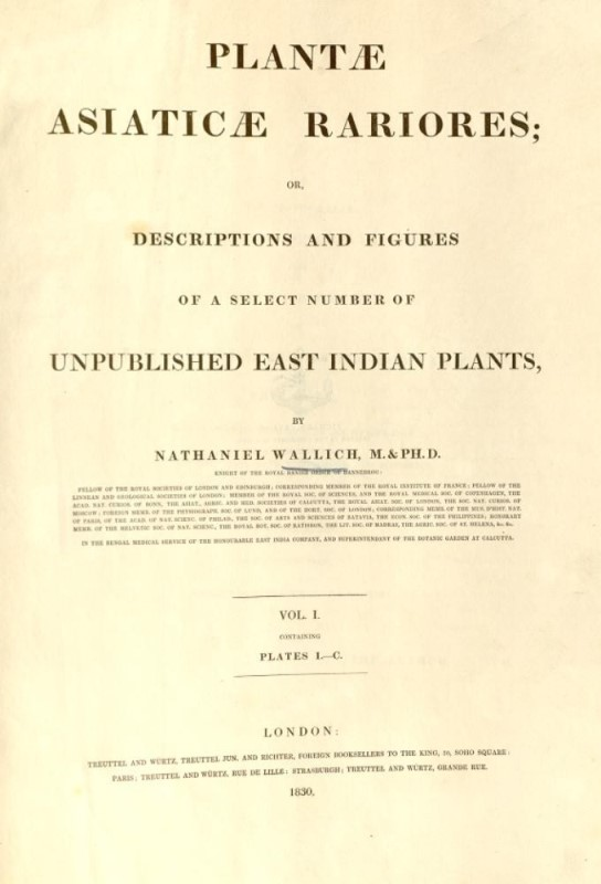 The title page of Plantae Asiaticae Rariores, by Nathaniel Wallich.