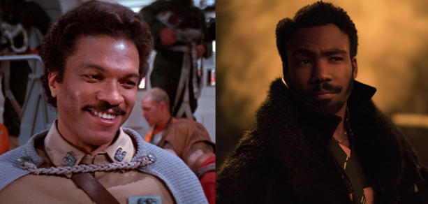 Billy Dee Williams (left) and Donald Glover (right) as Lando Calrissian. Image credit: Lucasfilm.
