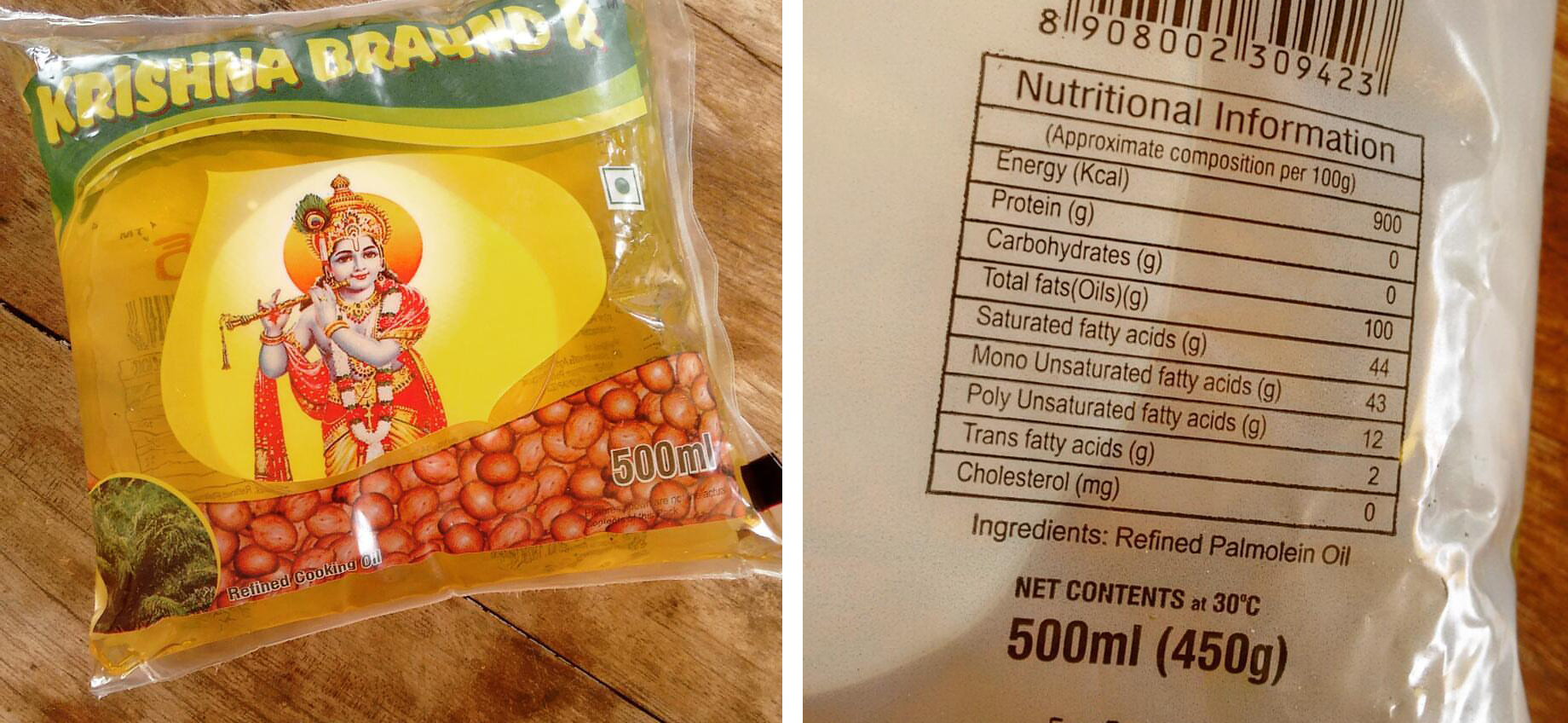 At the back of an edible oil packet marketed as groundnut oil is crucial information: this is actually palmolein oil. Photo credit: Madhu Reddy