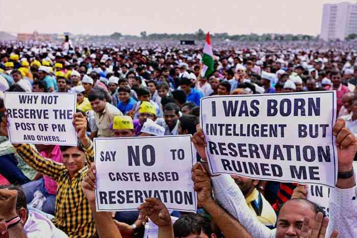 A protest against caste-based reservations. (Photo credit: PTI).