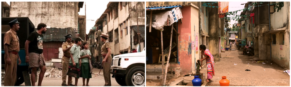 [Left] Vyasarpadi in Vikram Vedha. [Right] A photo of the area by Sruthi Ganapathy Raman.