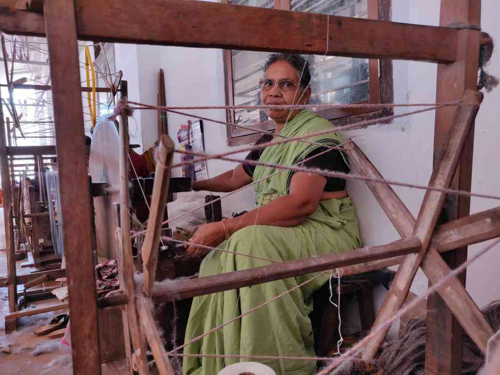 Handloom worker Sudha in Kannur. Photo TA Ameerudheen
