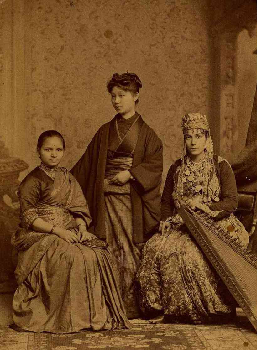 (L-R) Anandi Joshi, Kei Okami from Japan and Tabat M Islambooly from Ottoman Syria at the Woman's Medical College of Pennsylvania. All three were the first women from their respective countries to obtain a degree in Western medicine. Courtesy Public domain/via Wikimedia Commons.