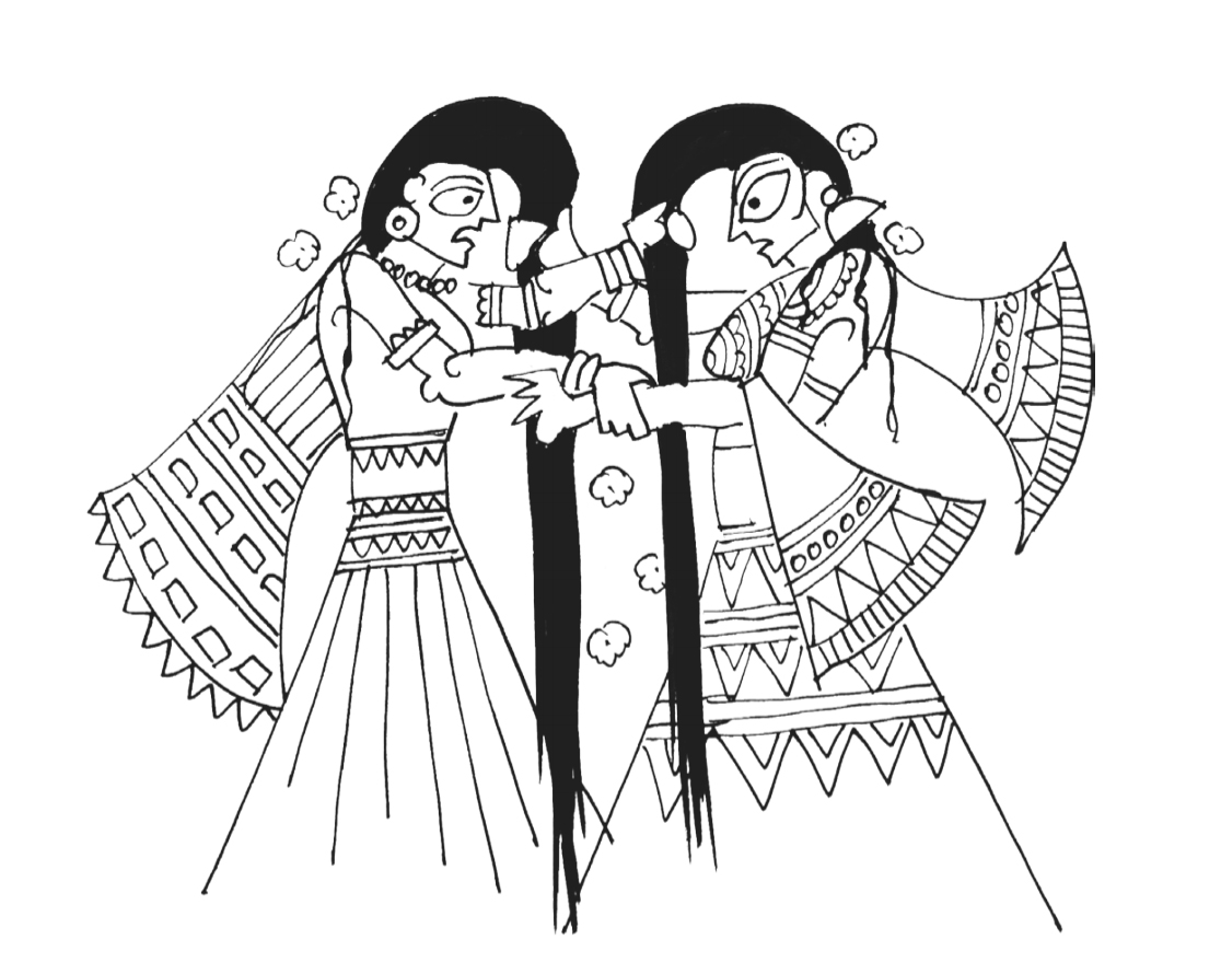 The wives fighting. Illustration by Devdutt Pattnaik.