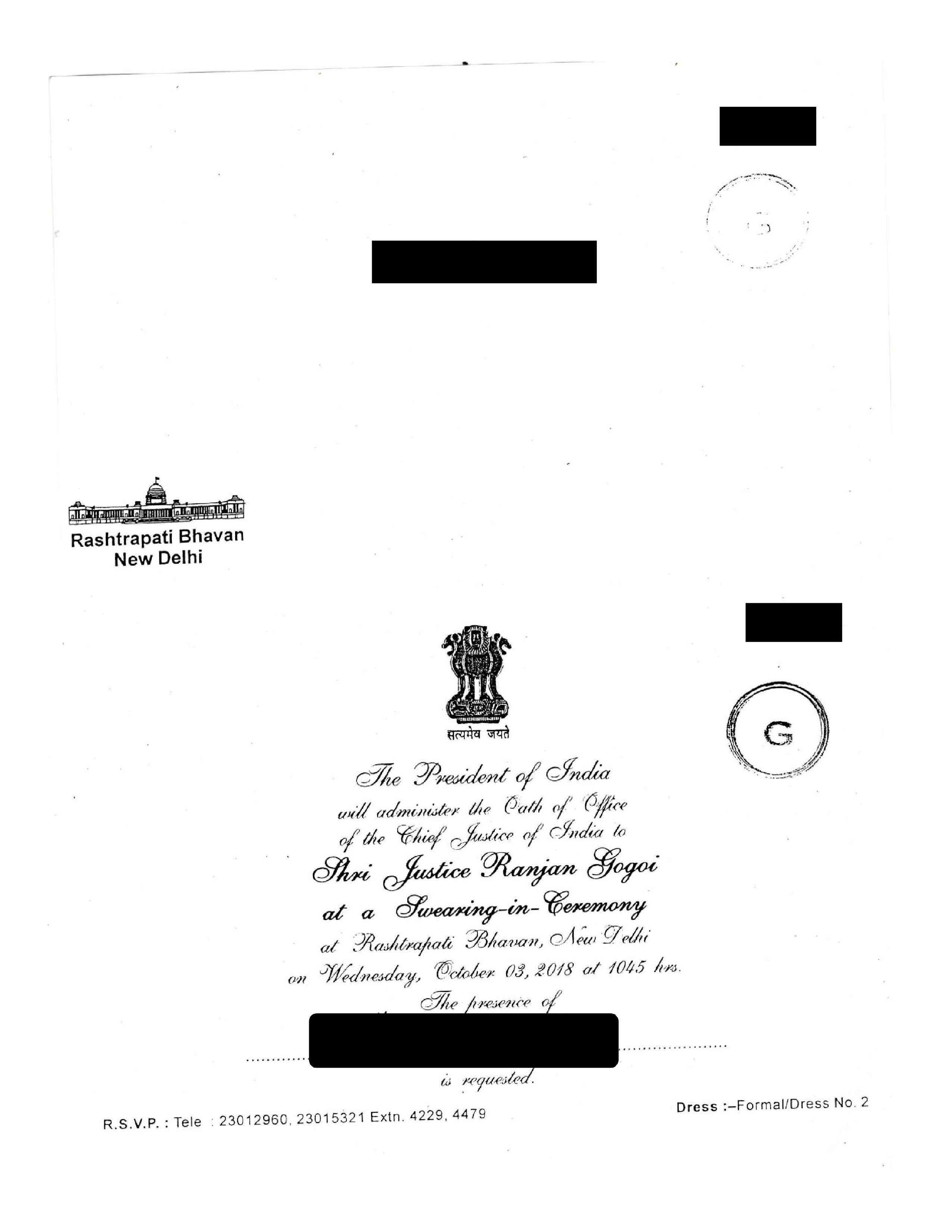 The invite to the Chief Justice of India's oath ceremony.