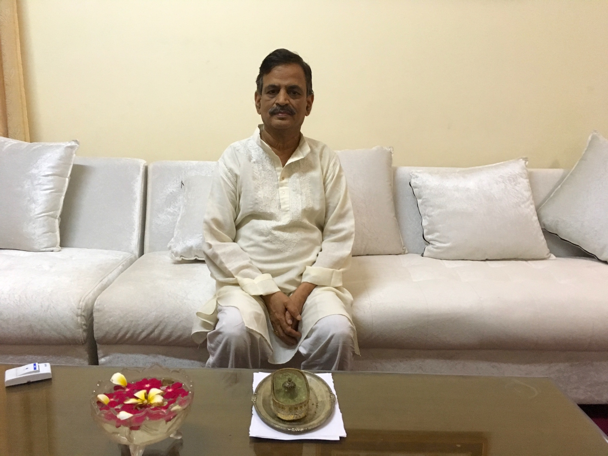 Rajeev Mishra, the former principal of BRD Medical College, at his residence in Gorakhpur. Photo credit: Menaka Rao.