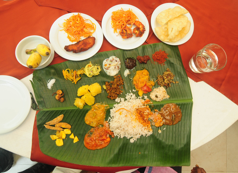 Onam sadya with fish delicacies. Photo credit: TA Ameerudheen.
