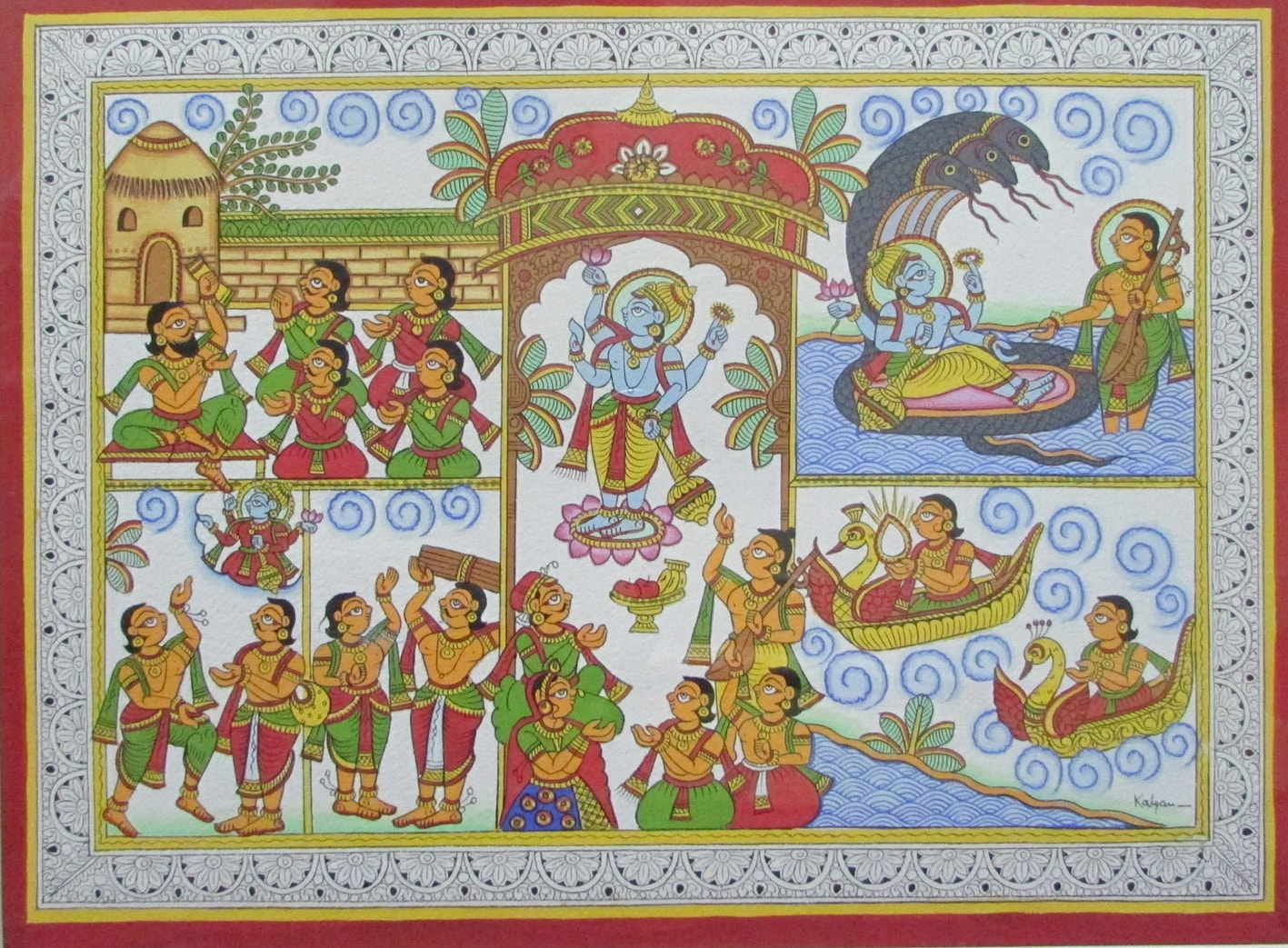 A phad painting depicting the Satyanarayan Katha.