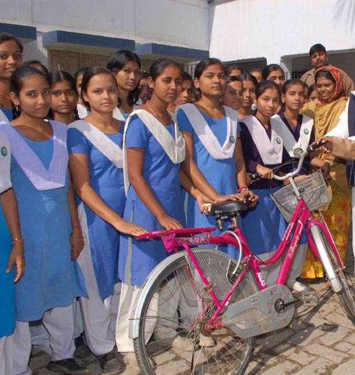 The state government gave cycles to girl students, but has failed to ensure quality education.