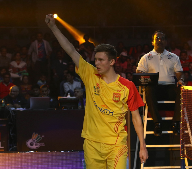 Viktor Axelsen after beating B Sai Praneeth (Credit: PBL)