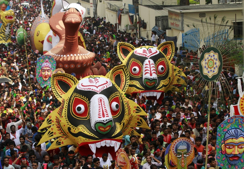 Celebrations on Pohela Boishakh, the first day of the Bengali New Year, in Dhaka in 2014. (Photo credit: Andrew Biraj/Reuters).