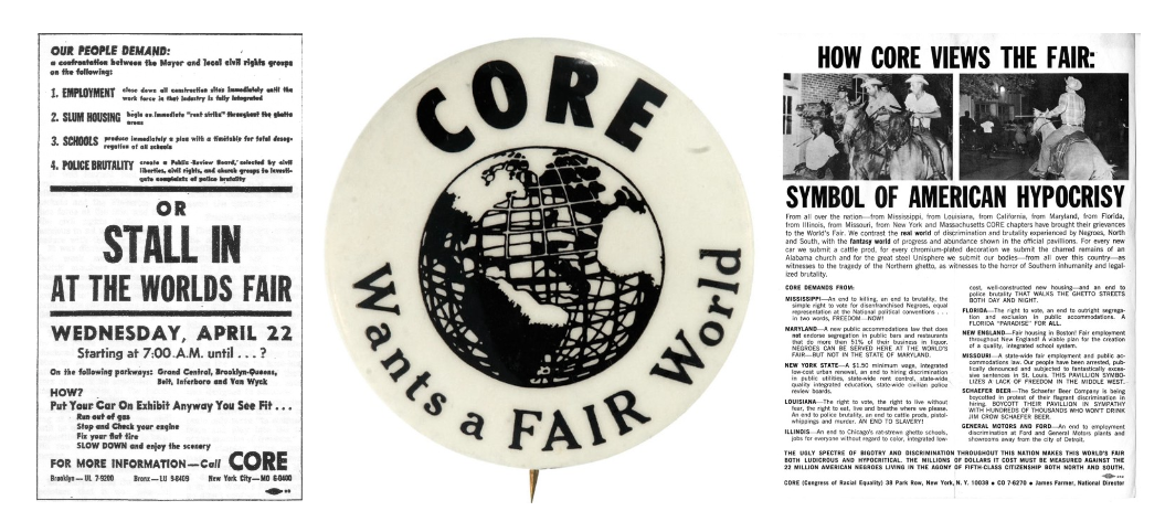 CORE fliers and pin protesting the New York World's Fair, 1964. Congress of Racial Equality