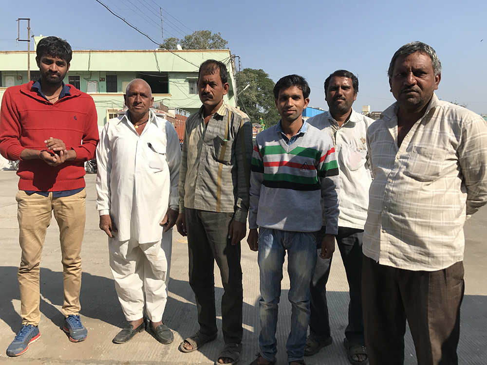 Niranjan Varma (in red) with other farmers at the Indore Agricultural Produce Market Committee.