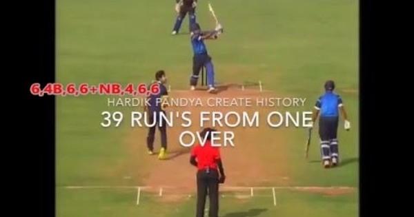 Watch the sensational Hardik Pandya smash 34 off a single over in a domestic Twenty20