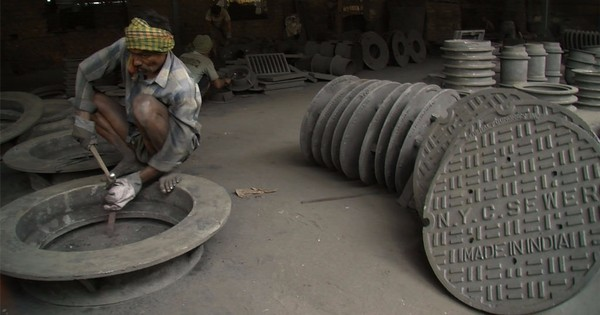 Manhole covers used in New York City, made in India